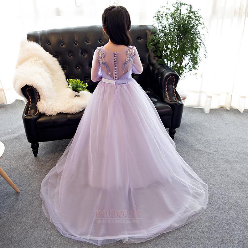 Robe de fille de fleur Formelle Manquant Bouton A-ligne Manche Longue 2