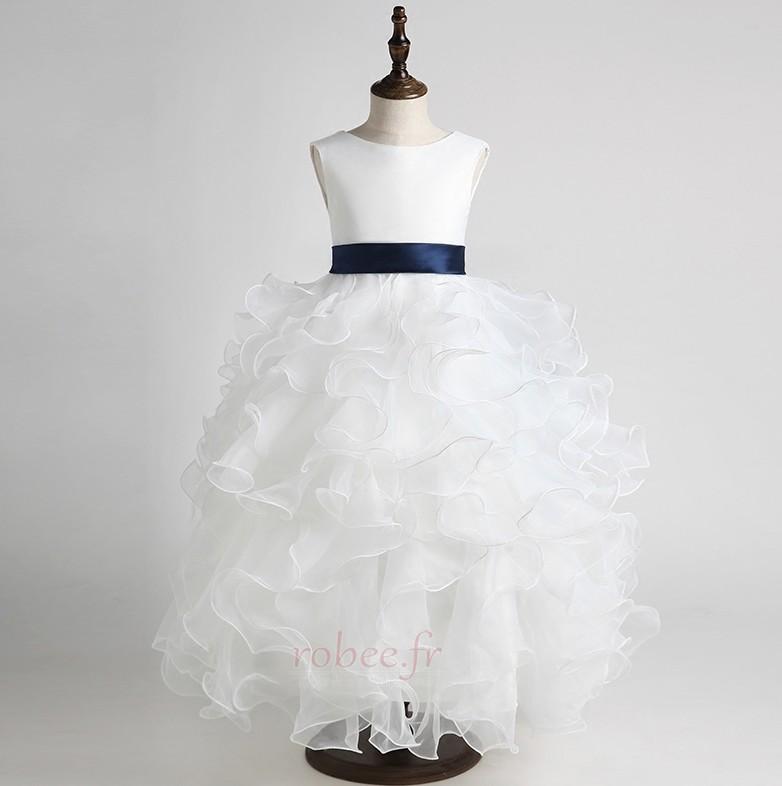Robe de fille de fleur Gradins Organza Printemps Formelle Petit collier circulaire 10