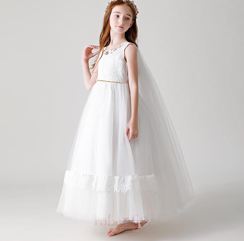 Robe de fille de fleur Tulle Haut Bas A-ligne Formelle Manquant 4