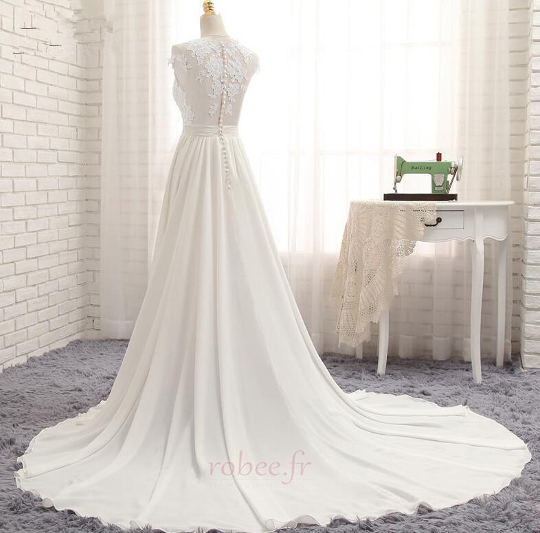 Robe de mariage Traîne Courte Fourchure Frontale Petit collier circulaire 2