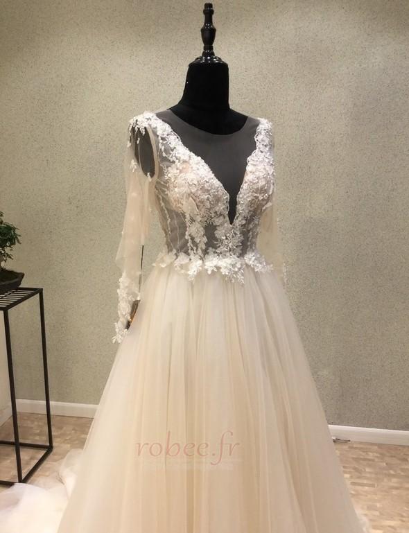 Robe de mariée Tulle Ample & Ornée Gaze Été Traîne Moyenne A-ligne 3