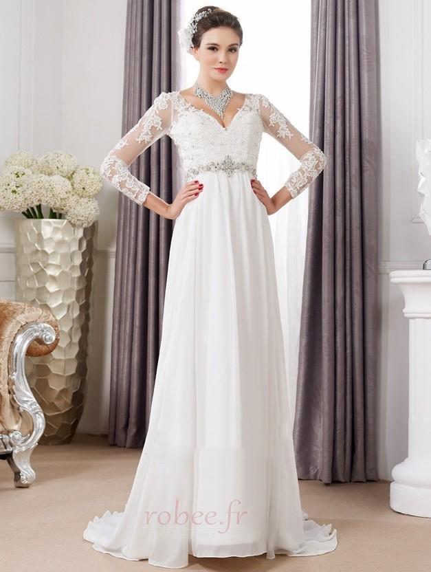 Robe de mariée Sexy Empire Traîne Courte Haut Bas Taille haute 1