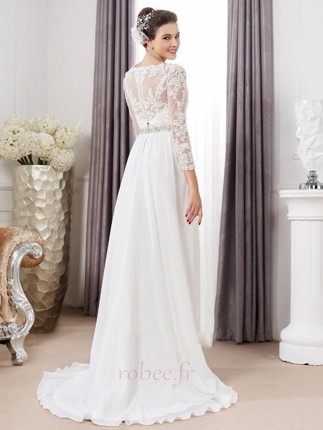 Robe de mariée Sexy Empire Traîne Courte Haut Bas Taille haute 2