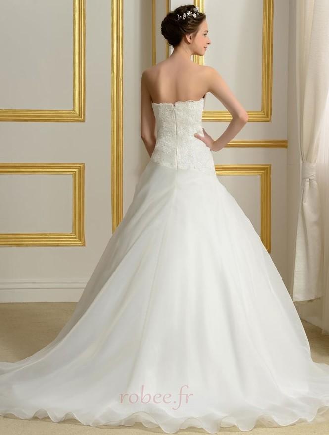 Robe de mariée Sans courroies Été A-ligne Organza Naturel taille 3