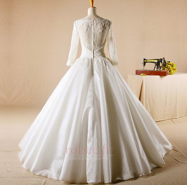 Robe de mariage Glissière Chapelle Formelle Traîne Courte Naturel taille 2