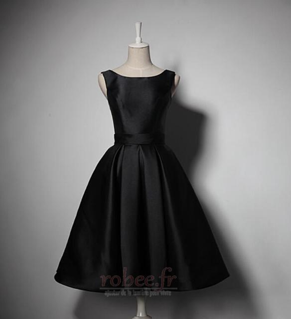 Robe de demoiselle d'honneur Simple A-ligne Satin Sans Manches 1