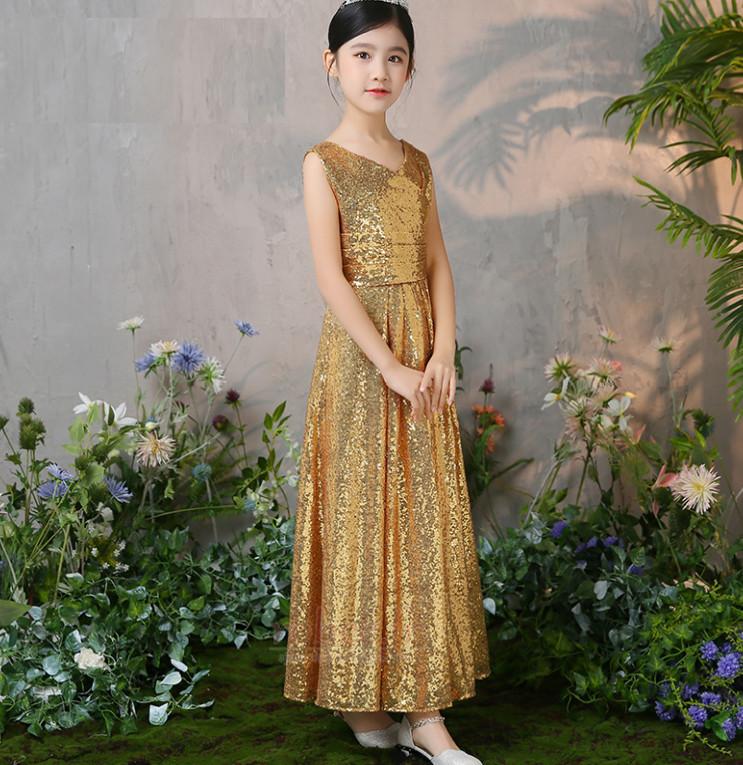 Robe de fille de fleur Col en V Pailleté Naturel taille Elégant 4