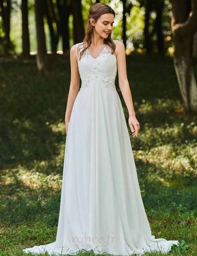 Robe de mariée Dos nu Col en V Drapé Sans Manches aligne De plein air 1
