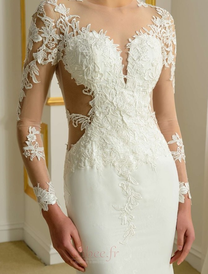 Robe de mariée Sans Manches Manquant Printemps Elégant Traîne Moyenne 4