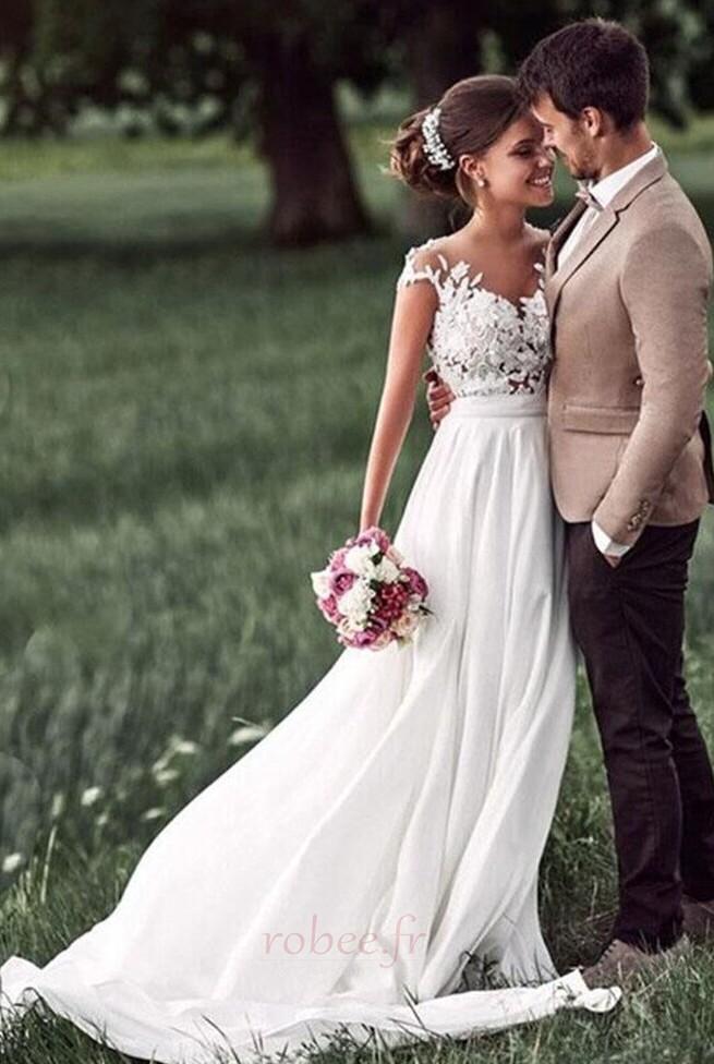 Robe de mariage Mousseline A-ligne Mancheron Automne Dentelle 4