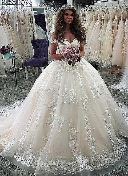 Robe de mariée Manche Courte Luxueux A-ligne Poire Dentelle Dos nu 1