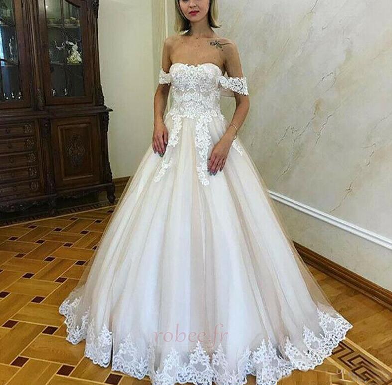 Robe de mariée Romantique Dentelle Mancheron Rosée épaule Automne 1