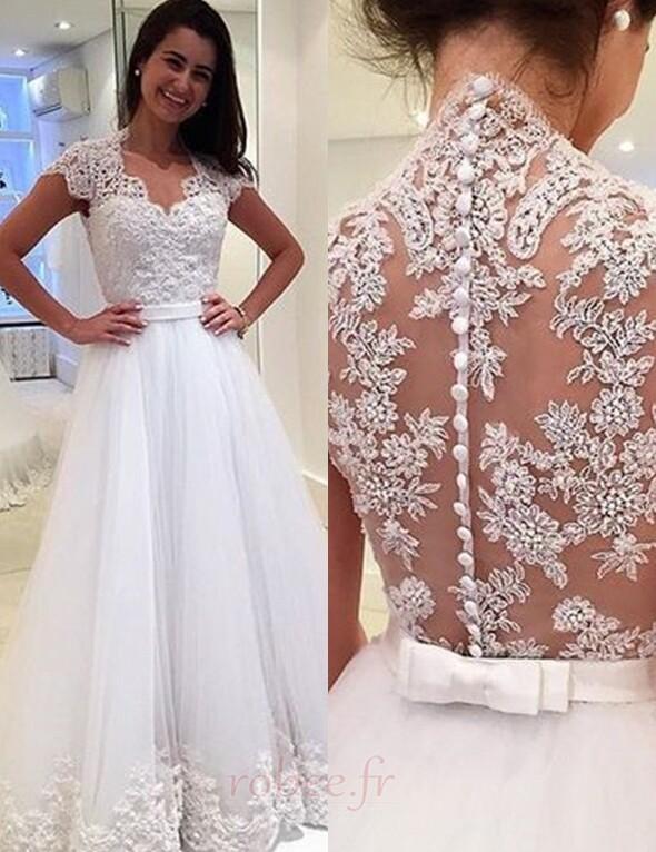Robe de mariée Tulle Luxueux a ligne Mancheron Couvert de Dentelle 1
