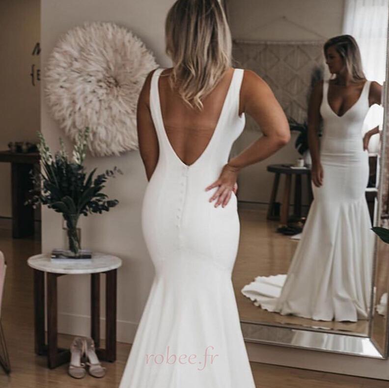 Robe de mariée Sirène Été Dos nu Col en V Petites Tailles De plein air 3