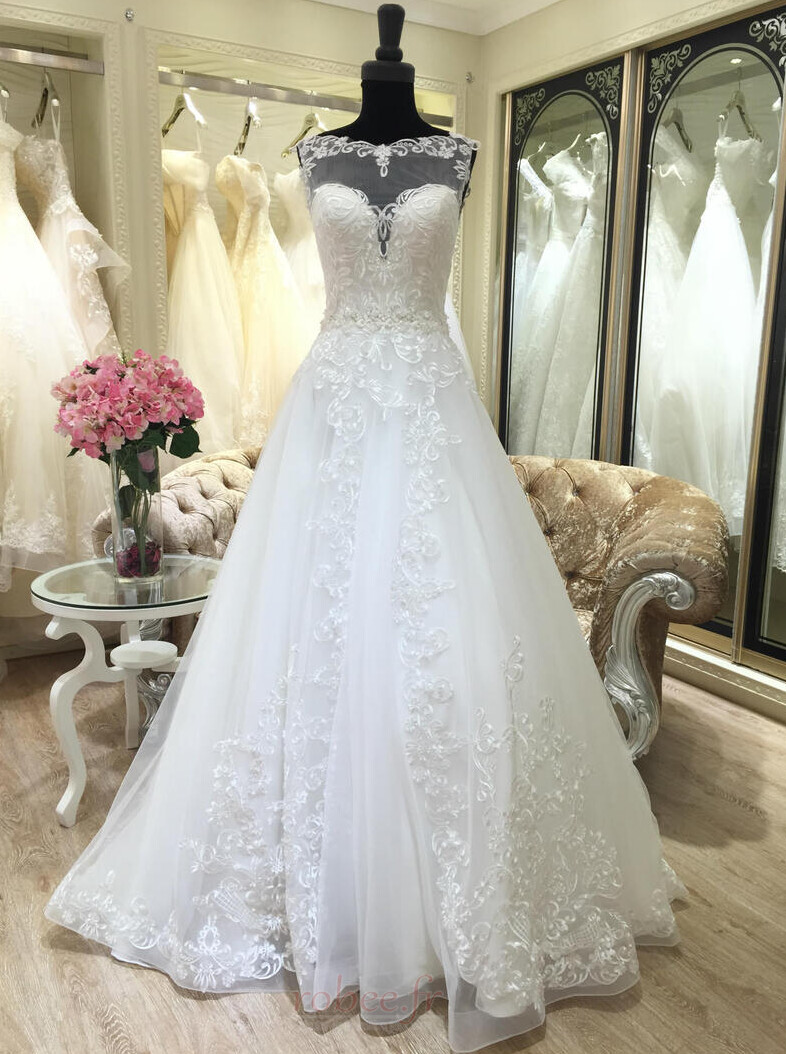 Robe de mariée Appliquer Satin Col Bateau Printemps Formelle 1