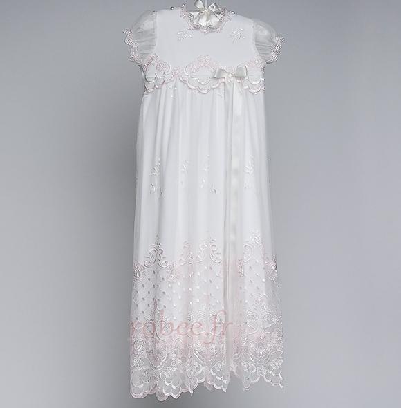 Robe de fille de fleur Princesse Dentelle Petit collier circulaire 1