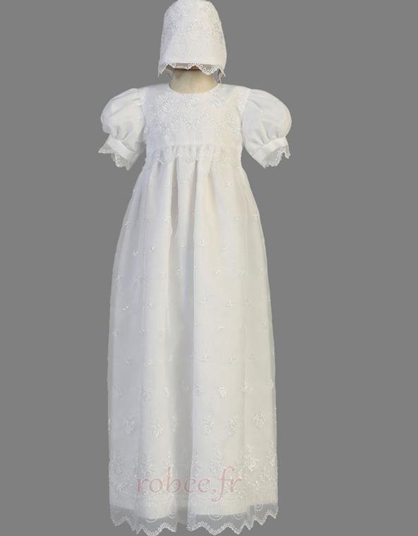 Robe de fille de fleur Manche Courte Organza Glissière Exquisite 1