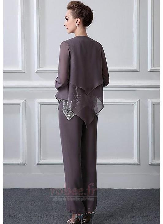 Robe mères Un Costume Avec des pantalons Naturel taille Longueur Cheville 2