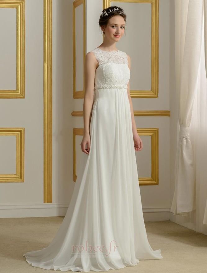 Robe de mariage Mousseline Empire Taille haute Couvert de Dentelle 3