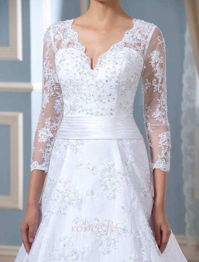 Robe de mariée Formelle Satin Chapelle Col en V Fermeture à glissière 5