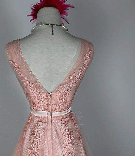 Robe de demoiselle d'honneur Chic A-ligne Glissière Rose Printemps 3