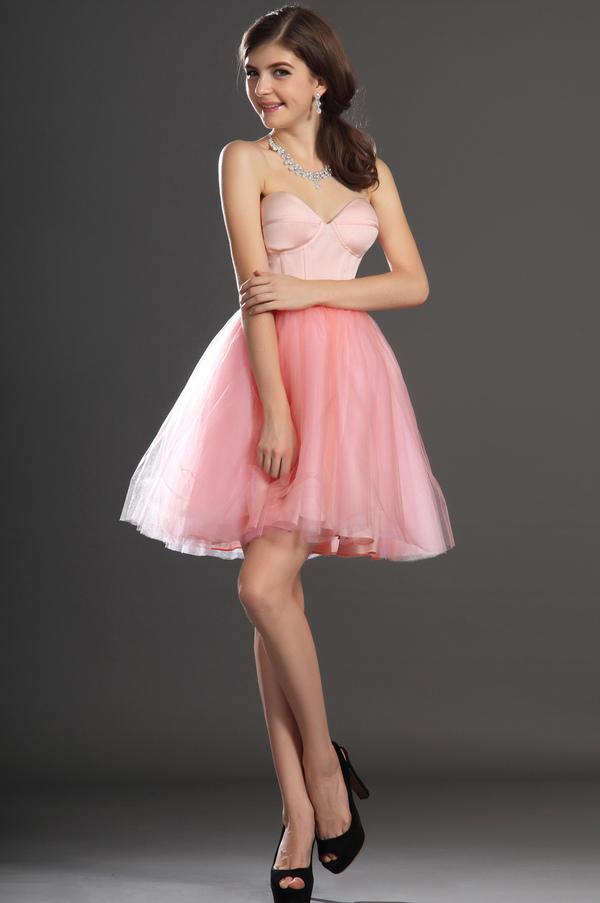 Robe de bal Tulle Mode Sablier Perle rose Col en Cœur Sans Manches 4
