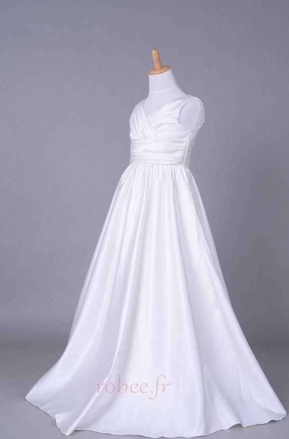 Robe de fille de fleur Corsage plissé Blanche Fermeture à glissière 2