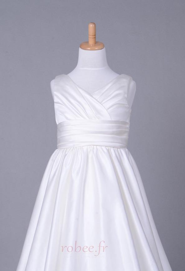 Robe de fille de fleur Corsage plissé Blanche Fermeture à glissière 4