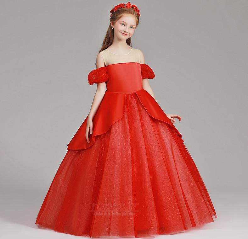 Robe de fille de fleur Tulle A-ligne Rosée épaule Trou De Serrure 4