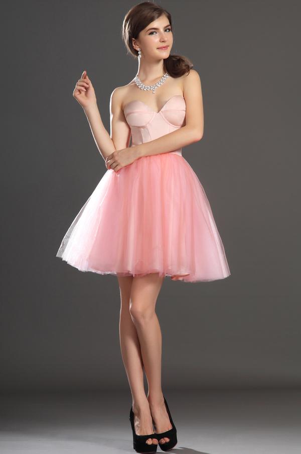 Robe de bal Tulle Mode Sablier Perle rose Col en Cœur Sans Manches 1