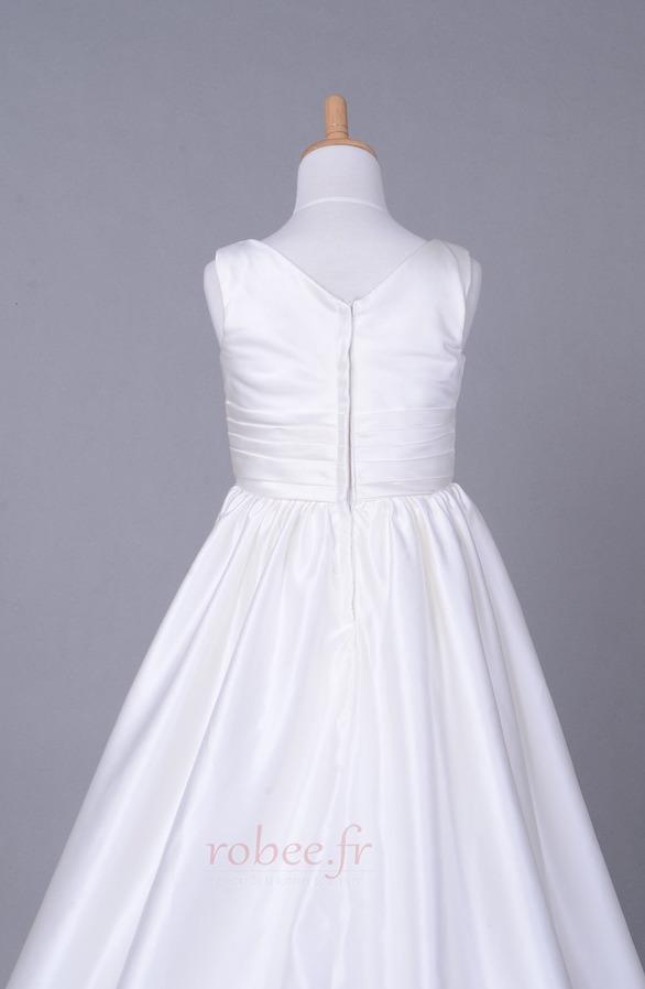 Robe de fille de fleur Corsage plissé Blanche Fermeture à glissière 6