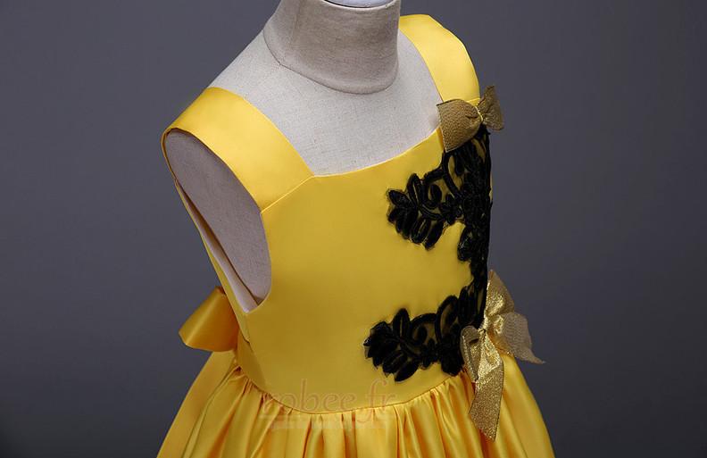 Robe de fille de fleur Longueur de plancher Soie Fermeture à glissière 4