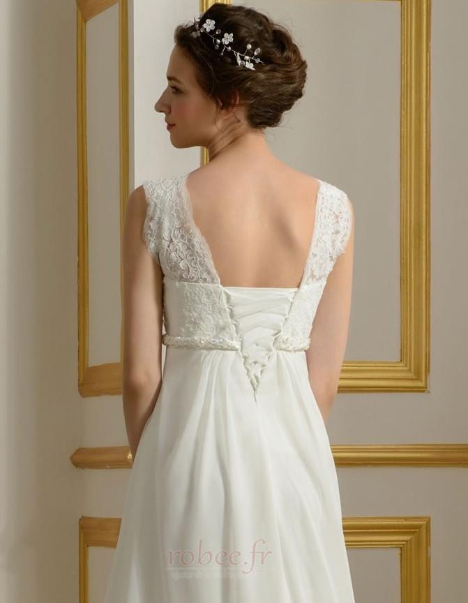 Robe de mariage Mousseline Empire Taille haute Couvert de Dentelle 5