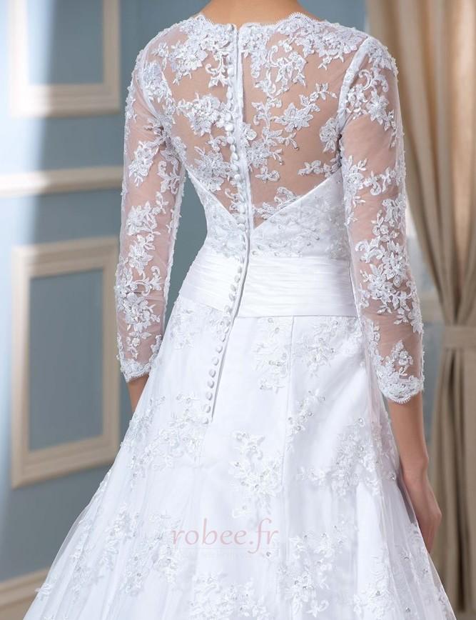 Robe de mariée Formelle Satin Chapelle Col en V Fermeture à glissière 4