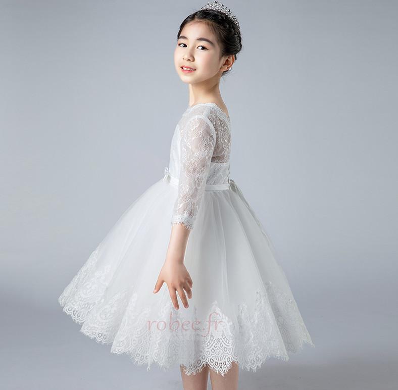 Robe de fille de fleur Dos nu Col de chemise t Couvert de Dentelle 4