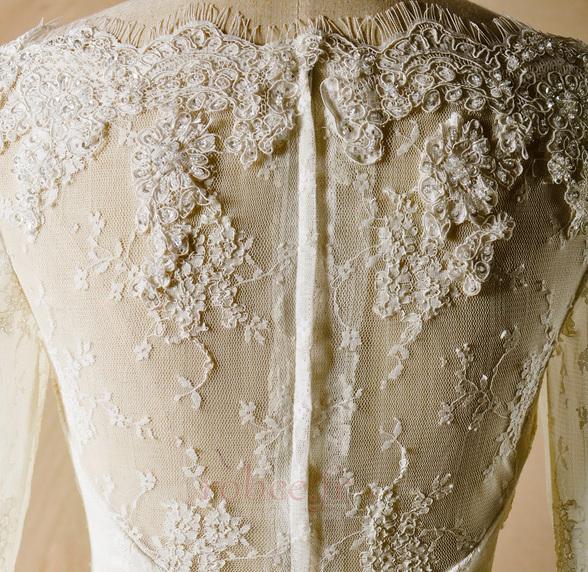 Robe de mariage Glissière Chapelle Formelle Traîne Courte Naturel taille 4
