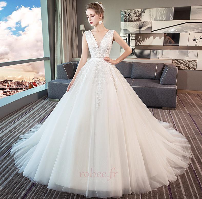 Robe de mariage Norme A-ligne Sans Manches Formelle Automne Naturel taille 3