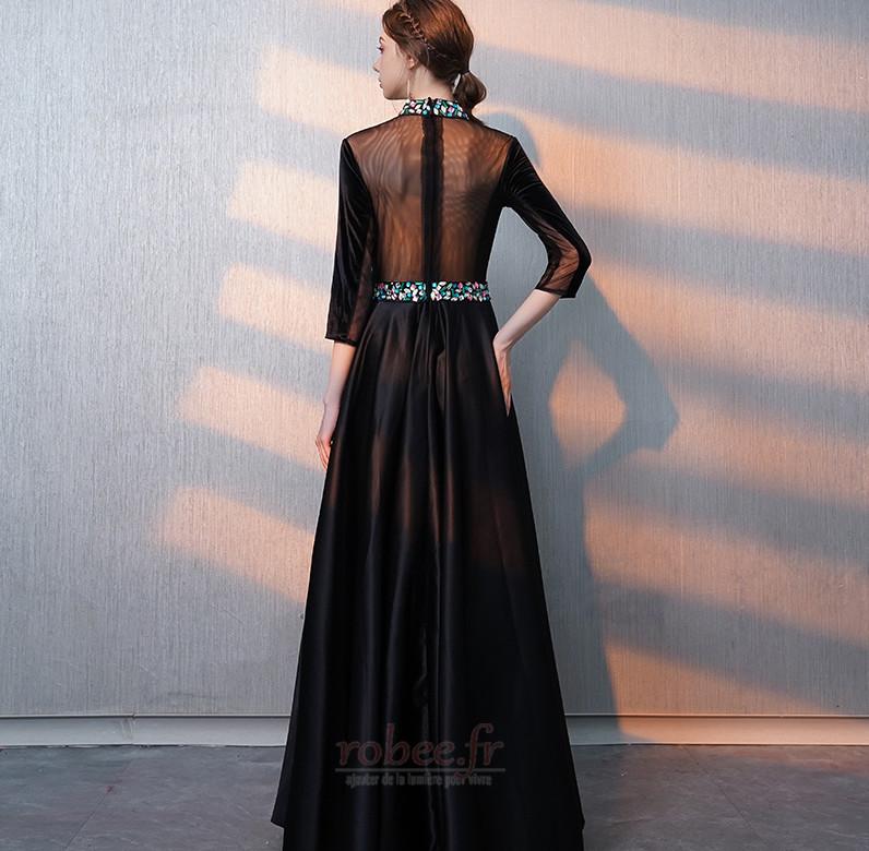 Robe de bal Fermeture éclair Montrer Luxueux A-ligne Col en V Foncé 2