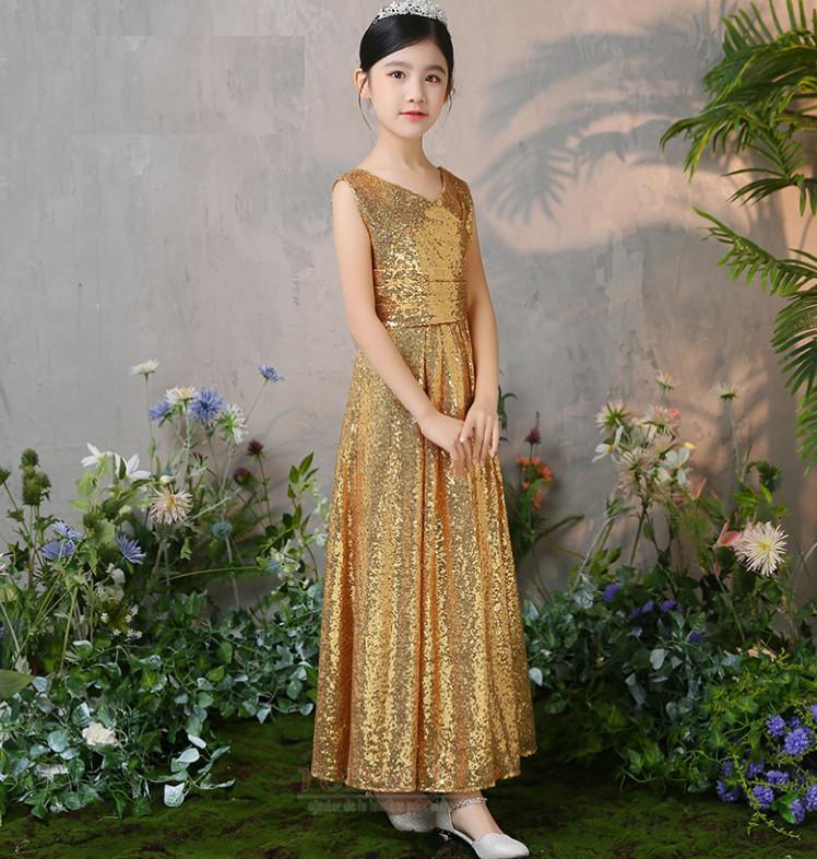 Robe de fille de fleur Col en V Pailleté Naturel taille Elégant 3