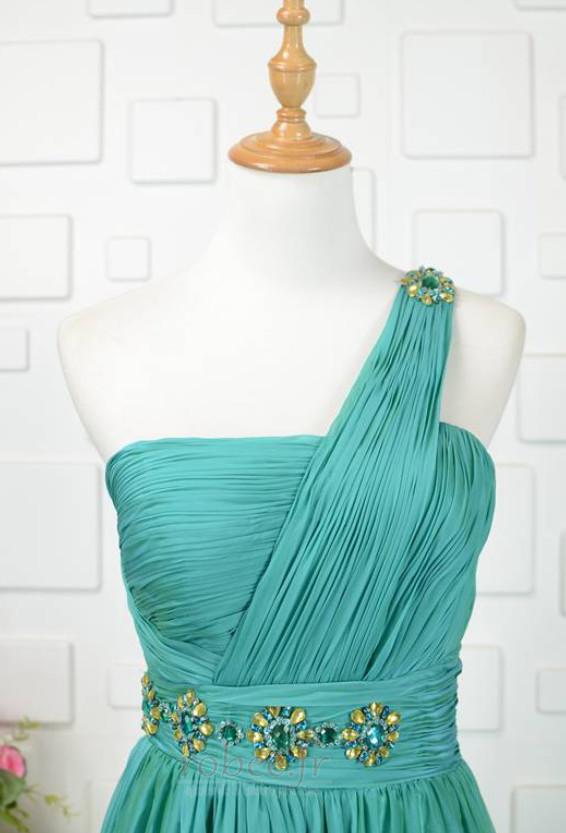 Robe de demoiselle d'honneur Une épaule Haut Bas A-ligne Printemps 4