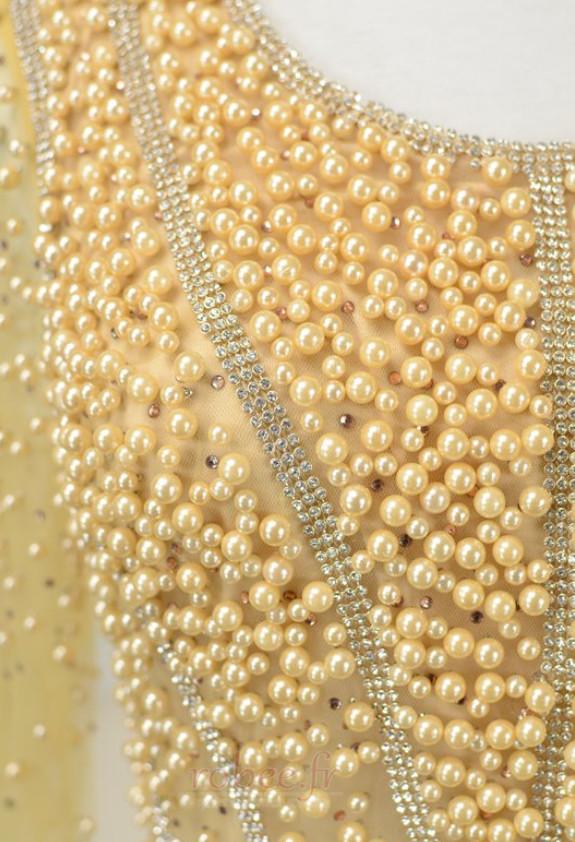Robe mères Perle Longueur Cheville aligne Rectangulaire Tulle 5