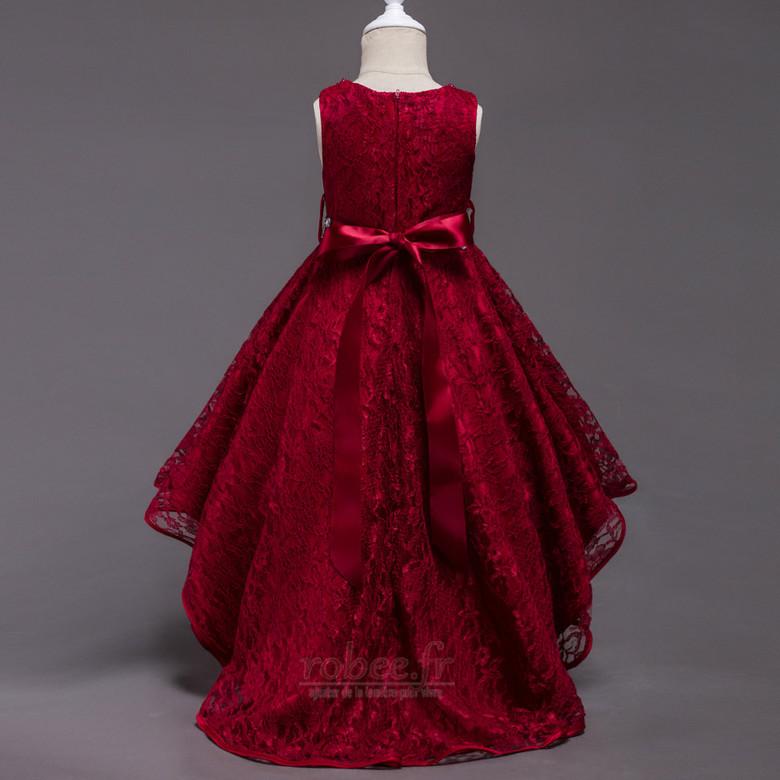 Robe de fille de fleur Col de chemise t Satin Mode Sans Manches 2