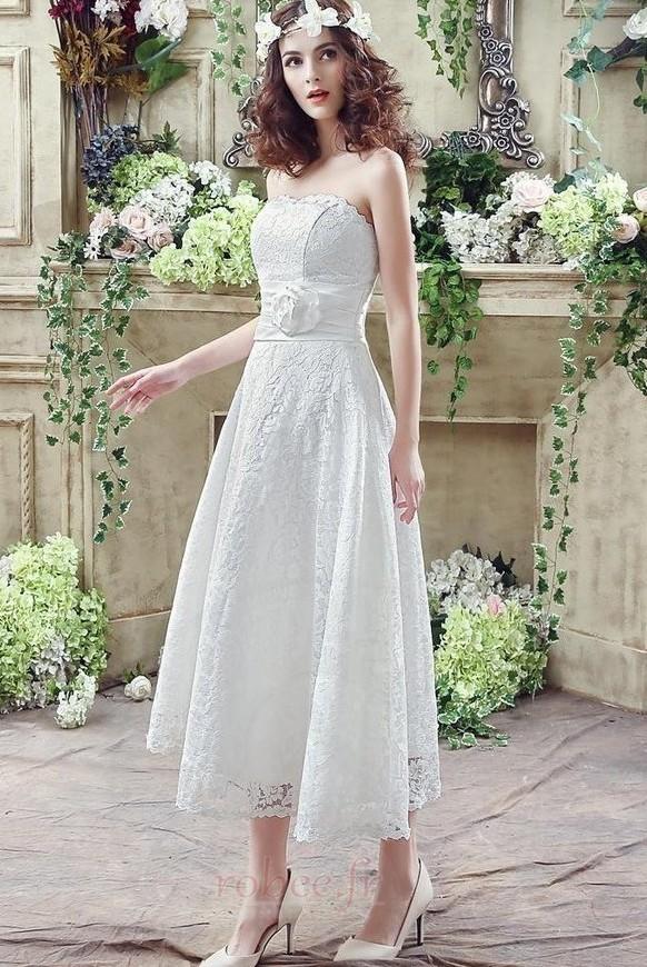 Robe de mariée Sans courroies Naturel taille Orné de Rosette 2
