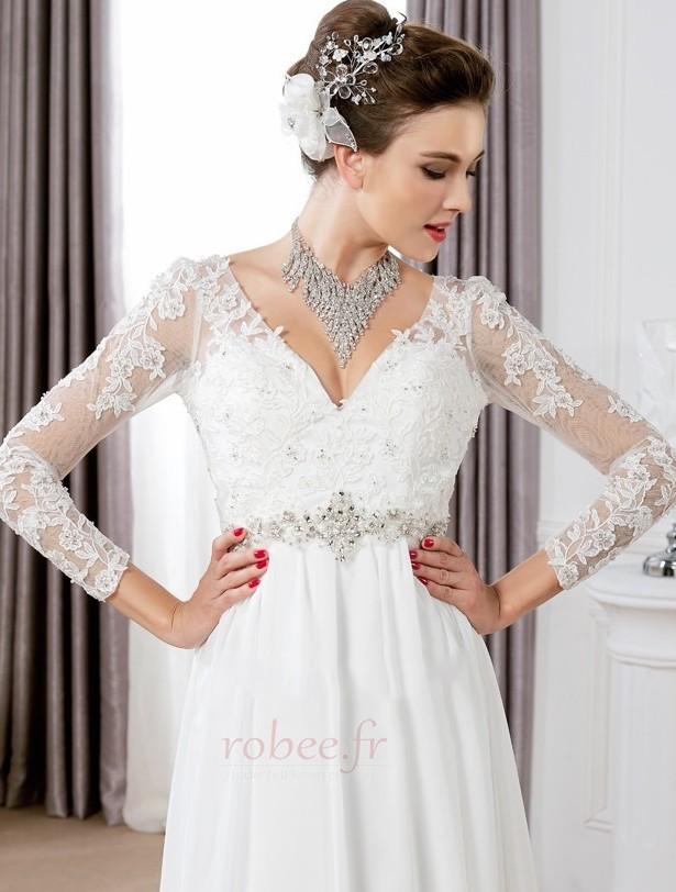Robe de mariée Sexy Empire Traîne Courte Haut Bas Taille haute 3