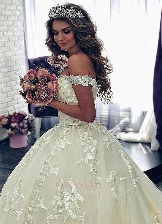 Robe de mariée Manche Courte Luxueux A-ligne Poire Dentelle Dos nu 3