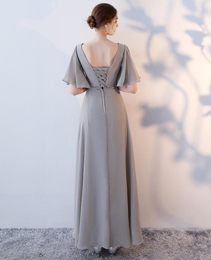 Robe de demoiselle d'honneur Laçage Sans Manches Mousseline A-ligne 14