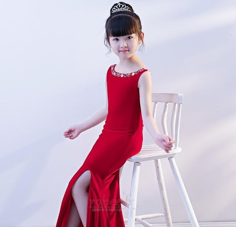 Robe de fille de fleur Sirène Perle Sans Manches Chic Manquant 4