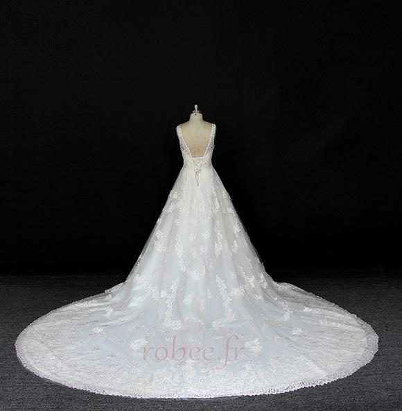 Robe de mariée Satin a ligne Printemps Traîne Longue Manquant 2