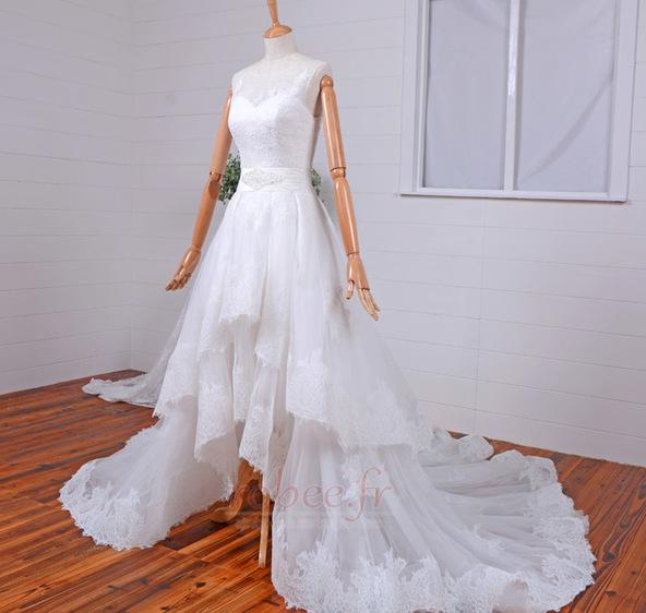 Robe de mariée Vintage Col Bateau Traîne Mi-longue Haut Bas Dentelle 3