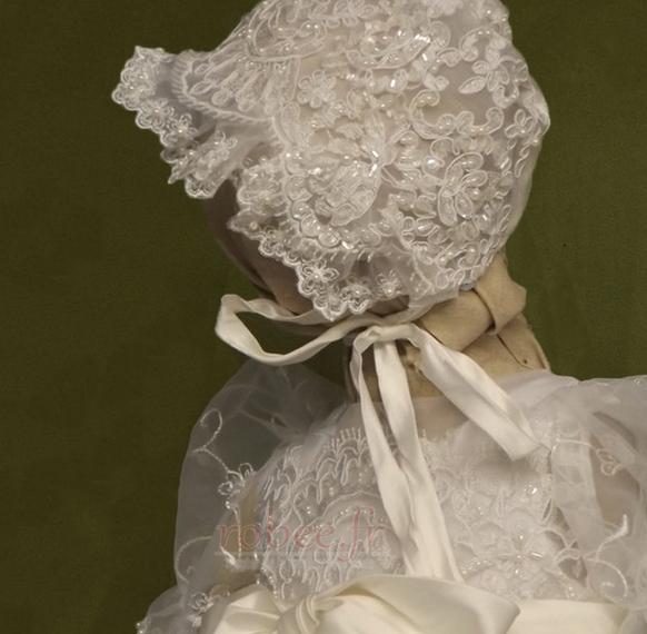 Robe de fille de fleur Princesse Dentelle Cérémonie Ceinture en Étoffe 3